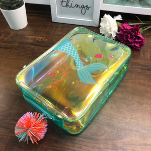 Holographic Plush Box Pouch with Pompom- Mermaid