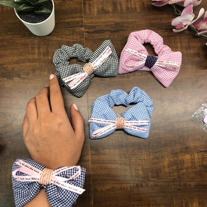 Chequered Hairtie Scrunchie with Bow & satin ribbon