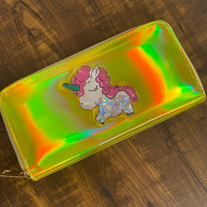 Gold Glitter Holographic Unicorn Wallet - clearance sale