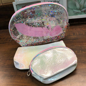 3 In 1 Vanity Glitter Pouch with White Flamingo