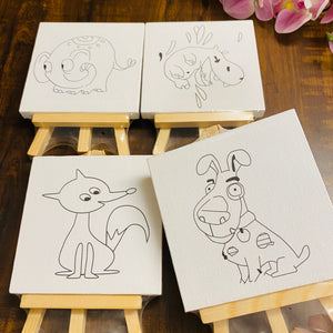 Mini Painting Canvas with Wooden Stand : clearance sale