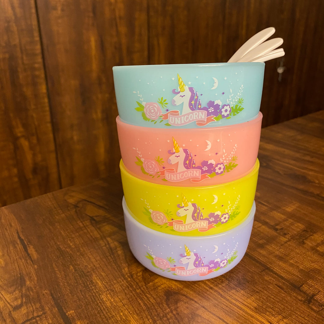 Unbreakable set of Unicorn Bowls and Spoons