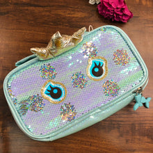 Load image into Gallery viewer, Premium Sequin Double Zip Vanity Pouch - Teal