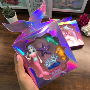 Holographic Mermaid Eraser Set