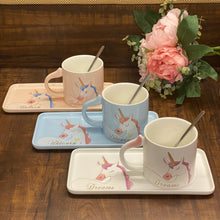 Load image into Gallery viewer, Unicorn Cup + Snack Plate Ceramic Set - clearance sale