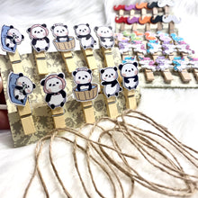 Load image into Gallery viewer, Wooden clips with rope - pack of 10 Panda