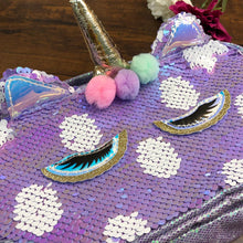 Load image into Gallery viewer, Premium Sequin Double Zip Vanity Pouch - Lavendar