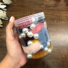 Load image into Gallery viewer, Pearl Fur Hairtie - jar of 12 Scrunchie bands