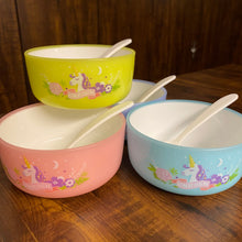 Load image into Gallery viewer, Unbreakable set of Unicorn Bowls and Spoons