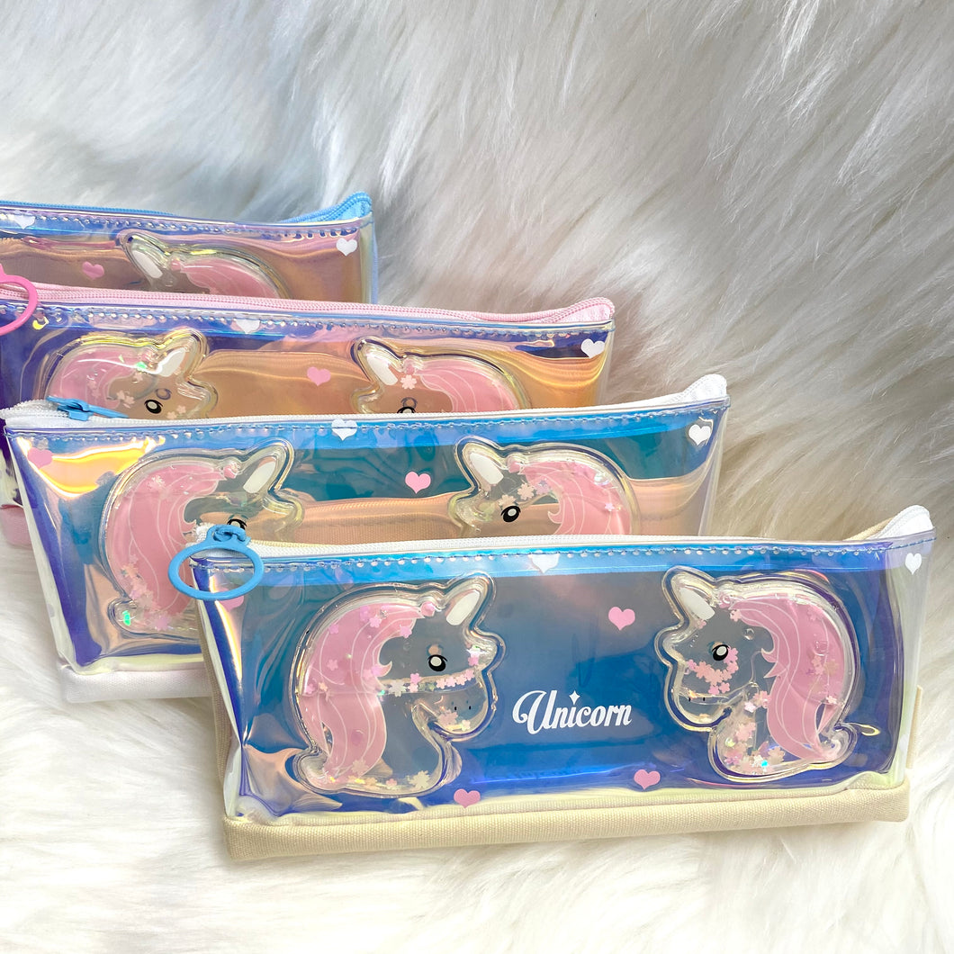 Unicorn Canvas Holographic pouch - Liquid Glitter Unicorn