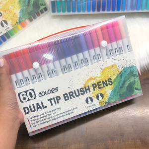 60 colours - Dual tip : Brush + fine art pens