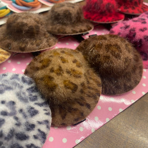 Cheetah print Hair Clip ( hat shaped )