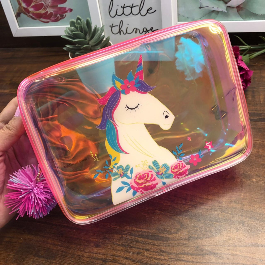 Holographic Plush Box Pouch with Pompom- Unicorn