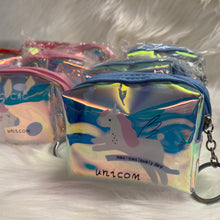 Load image into Gallery viewer, Unicorn Holographic Pouch with keychain