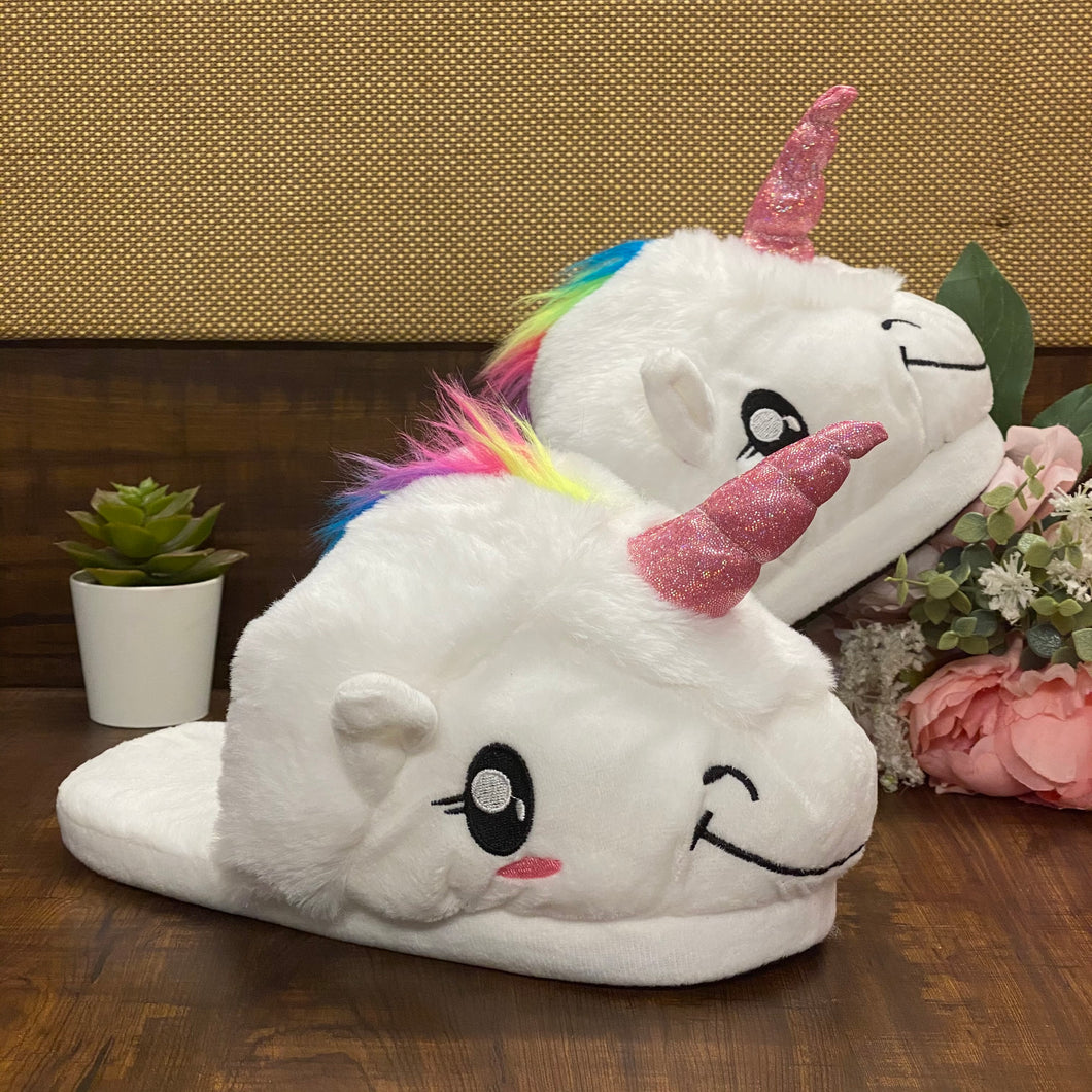 Unicorn Snuggly Slippers - White