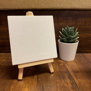 Mini Painting Blank Canvas with Wooden Stand