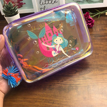 Load image into Gallery viewer, Holographic Plush Box Pouch with Pompom- Mermaid