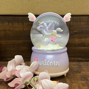 Unicorn World Snow Globe - LED, Snow & Music