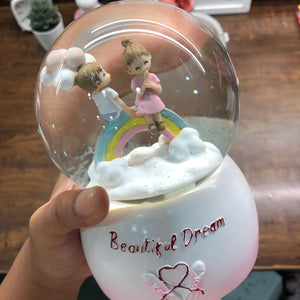 Beautiful Dream Rainbow Couple Snow Globe