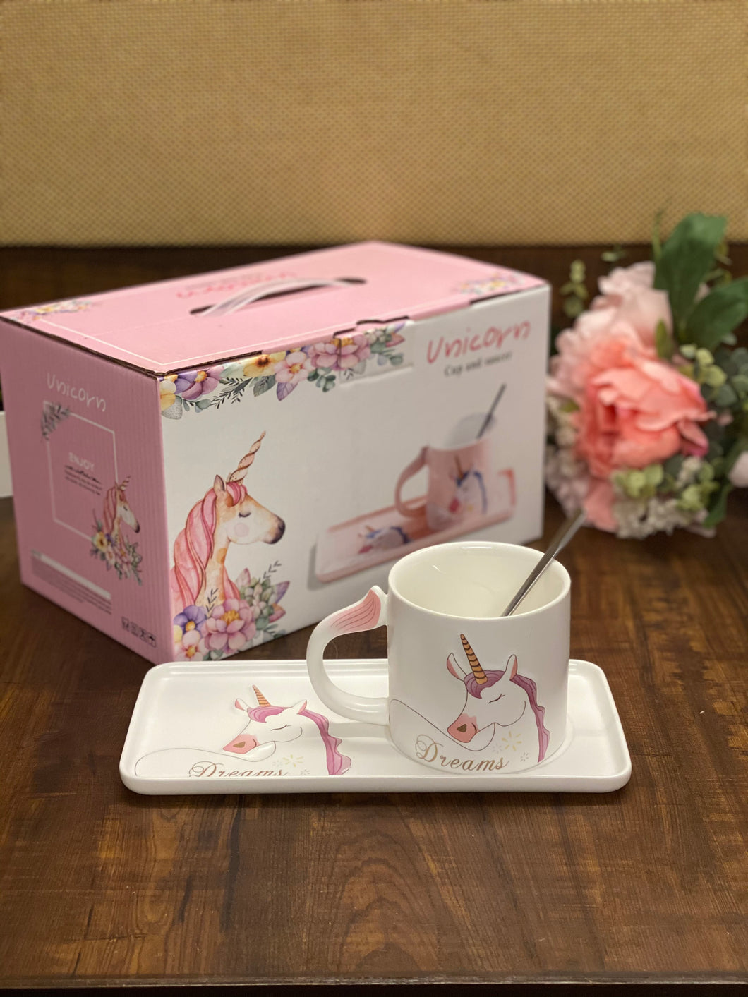 Unicorn Cup + Snack Plate Ceramic Set