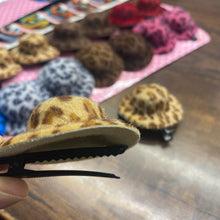 Load image into Gallery viewer, Cheetah print Hair Clip ( hat shaped )