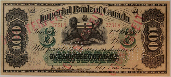 Canada Imperial Bank $100 1917 Punch holed VOID. /318TnE