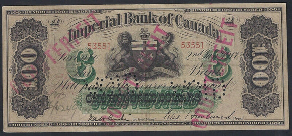 Canada Imperial Bank $100 1917 Punch holed VOID. /551