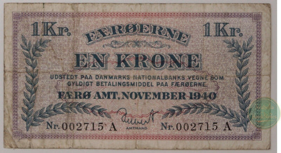Faeroe Islands 1 Krone 1940, P-9