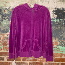 Load image into Gallery viewer, Tek Gear Purple Hoodie Velour Zip Up Size XLarge
