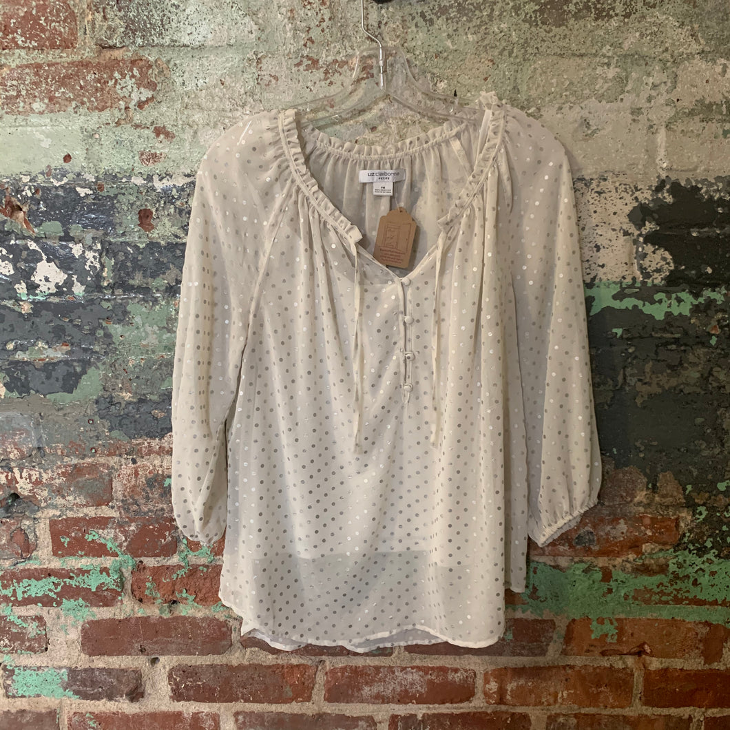 Liz Claiborne White And Silver Polk A Dot Top