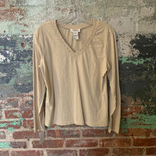Load image into Gallery viewer, Talbots Beige Knit Top V-neck With Embellishments Size M