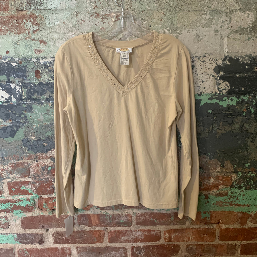 Talbots Beige Knit Top V-neck With Embellishments Size M