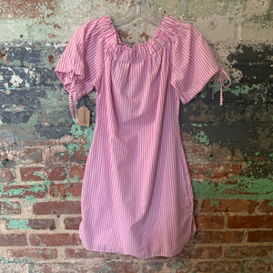 Pink And White Striped Off The Shoulder Dress With Floral Embellishment Size Medium
