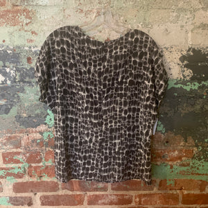 Ann Taylor Black And White Silk Top Size 12