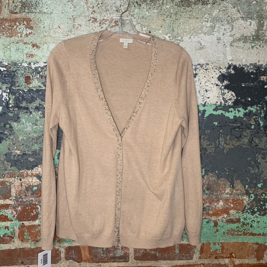 Talbots Beige Cardigan Beaded Collar Size Medium