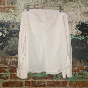White Off The Shoulder Button Front Top Size Medium