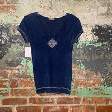 Load image into Gallery viewer, B Friends Blue Filigree Top Size Small