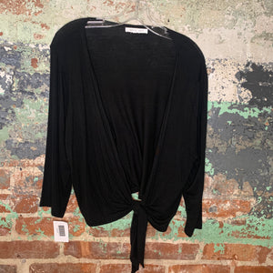 August Silk Black Top Size Large