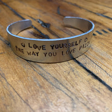 "Load image into Gallery viewer, Handmade ""Love Yourself Like Pizza"" Cuff Bracelet"