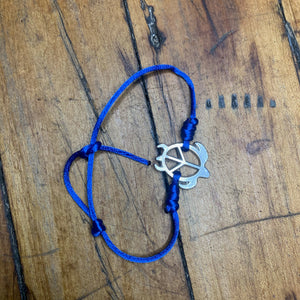 Silver Turtle Peace Bracelet Blue Band