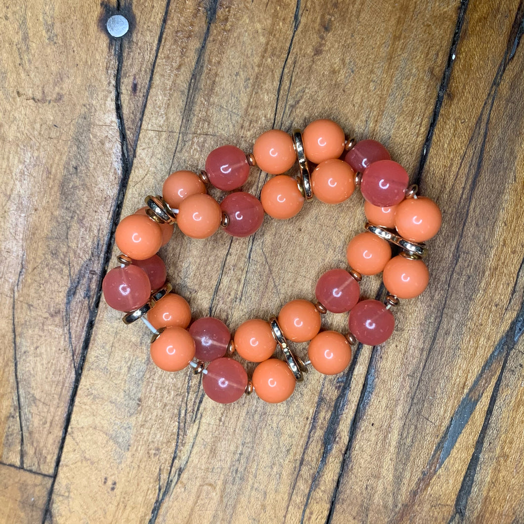 Peach and Pink Bead Stretch Bracelet