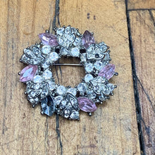 Load image into Gallery viewer, Silver and Pink CZ Wreath Pin