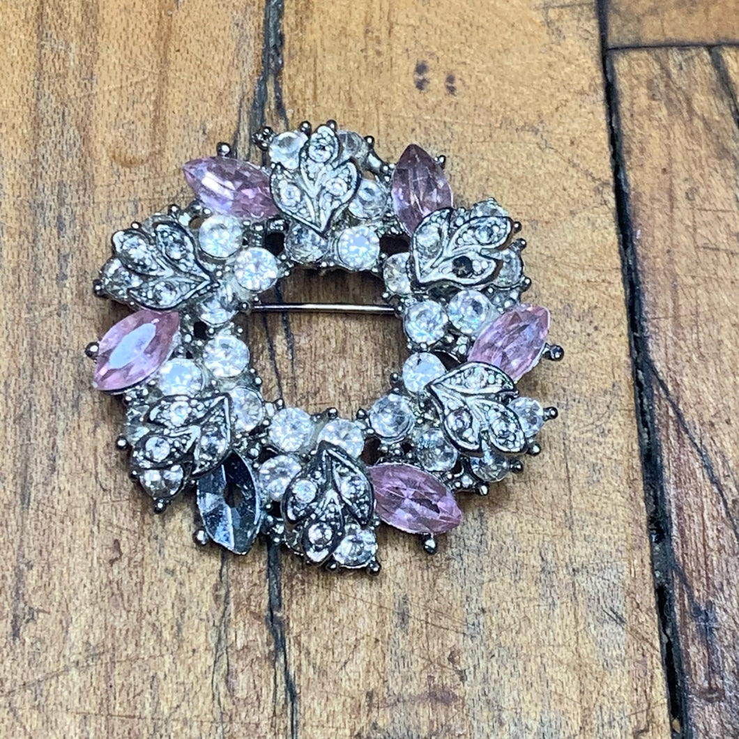Silver and Pink CZ Wreath Pin