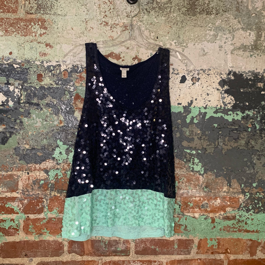 J Crew Blue and Green Sequined Tank Size Small