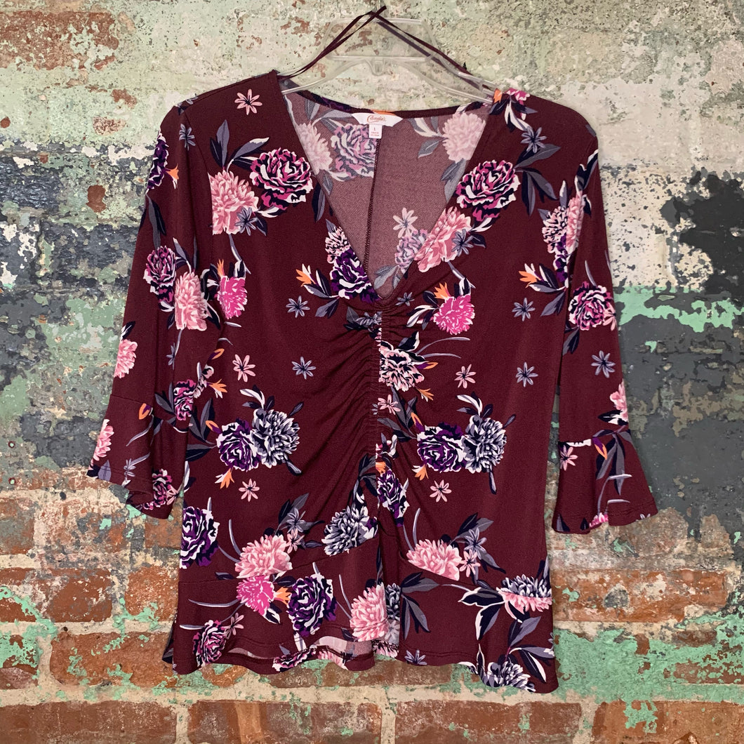 Candie's Maroon Floral Top Size Large
