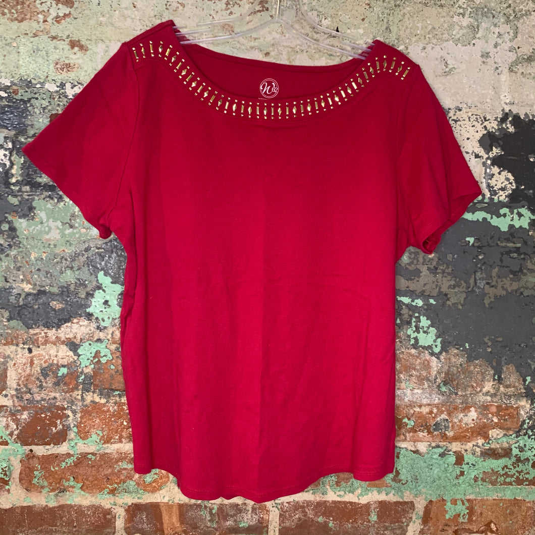 Westport Pink Top W/ Gold Embellishment Size X Large