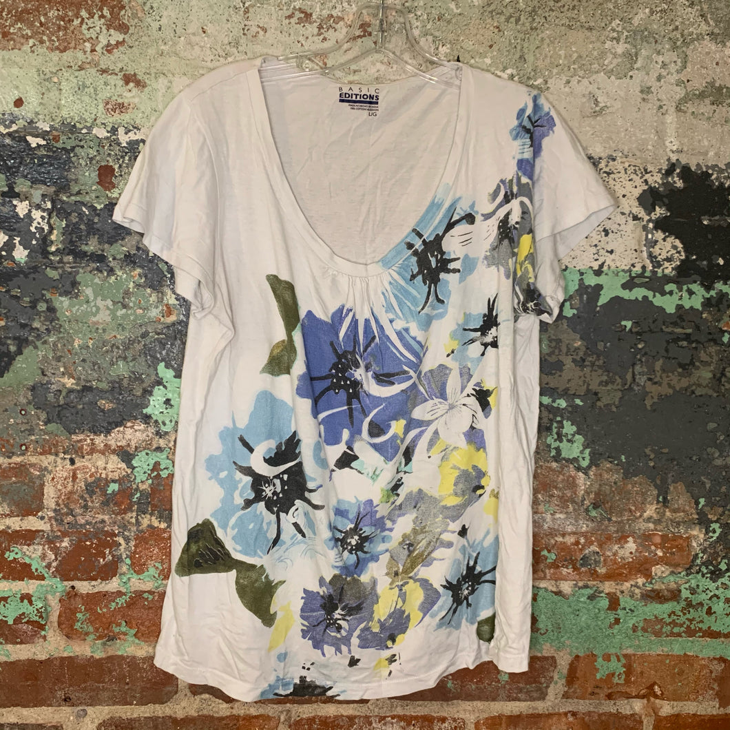 Basic Editions Floral Print T Shirt Size Large