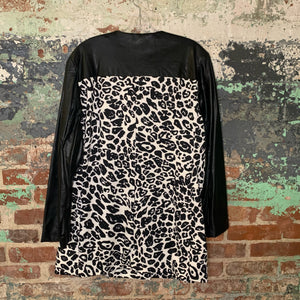 Chicos White Leopard Print Pleather Jacket Size 3
