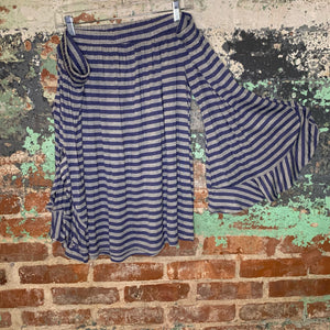 Lane Bryant Blue and Grey Striped Off the Shoulder Top Size 18/20