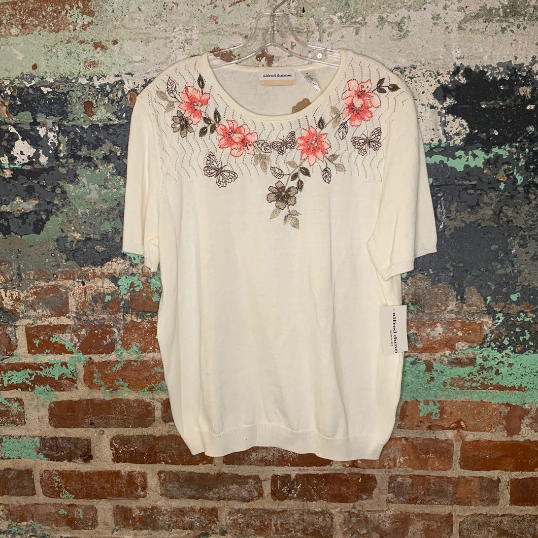 Alfred Dunner Cream Floral Sweater Size X Large